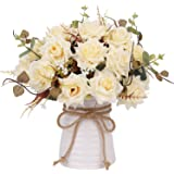 (Champagne) - YILIYAJIA Artificial Rose Bouquets with Ceramics Vase Fake Silk Rose Flowers Decoration for Table Home Office W