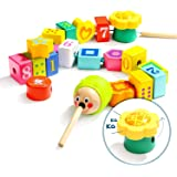 TOP BRIGHT Wooden Lacing Beads for Toddlers, Fine Motor Skills Montessori Toys, Preschool Learning Toys for 2 Year Old Boys a