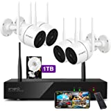 XMARTO Wireless Security Camera System - 8CH Expandable NVR with 4 1080p WiFi Security Cameras - PIR & Video Dual Motion Dete