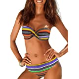 Dokotoo Womens Color Block Printed Racerback Tankini Swimsuits with Shorts