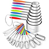 Measuring Cups and Spoons - Wildone Stainless Steel 20 Piece Stackable Set, Includes 8 Measuring Cups, 10 Measuring Spoons, 1