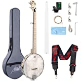 5 String Banjo, Adjustable Full Size Maple Banjo Open Back Remo Head with 2 Tuning Wrench 4 Picks Strings Tuner Strap Ruler C