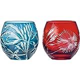 東洋佐々木ガラス ペアフリーグラス 切子 キリコギフト ブルー&レッド 350ml HG880-T106 2個入り