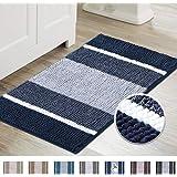 Super Cozy Shag Chenille Bath Rug, Gradient Navy Stripe Pattern Machine Washable Microfiber Plush Bathmat, Ultra Absorbent Ma