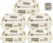 Natural Organic Premium Embossing Wet Wipes CAP Travel Pack, 30 count (Pack of 5)