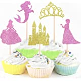 30-pack Glitter Princess Cupcake Toppers, Girl Theme Baby Shower Party Cake Food Decoration Supplies