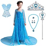 Lito Angels Girls' Princess Elsa Dress Up Costumes Halloween Party Dress Gown Sequined with Accessories