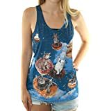Women's Kitty Cats on Donuts Flying Through The Sky Graphic Print Tank Top