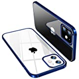 TORRAS iPhone 12 mini 用 ケース 5.4インチ 透明 青いバンパー メッキ加工 薄型 軽量 衝撃吸収 ソフトTPU SGS認証 黄ばみなし レンズ保護 アイフォン12 mini 用カバー ネイビーブルー Shiny Series