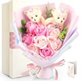 FAUHAL ソープフラワー ベア 枯れない花 石鹸花 敬老の日 プレゼント 花束 バラ 造花 くま束 ブーケ ぬいぐる…