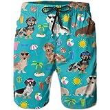 Victoria III Dachshund Dog Summer Beach Beachwear Board Shorts Swim Trunk