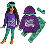 DiDaDo Mermaid Toddler Little Girls Outfit Set, T-Shirt/Hoodie Tops Pants with Headband Outfit Clothing Sets