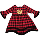 Toddler Kid Baby Girls Christmas Outfits Elk Plaid Long Sleeve Top Dress Sundress Xmas Princess Clothes 6M-5Y