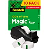 Scotch Magic Tape, 6 Rolls with Dispenser, Numerous Applications, Invisible, Engineered for Repairing, 3/4 x 1000 Inches, Box