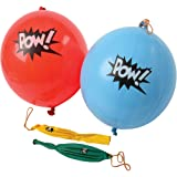 U.S. Toy Lot of 12 Assorted Color Comic Book Super Hero Design Punch Balloons,Blue, red, Yellow, Green