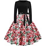 Kwok Lady Dress Women Vintage Print Long Sleeve Casual Evening Party Prom Swing Dress Prom Gown Fashion Casual Dresses Evenin