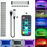 KXZM Daylight White RGB LED Strip Light for 39-60in TV,6.6ft USB TV Backlight Kit with RF Remote,5050 SMD 20 Color Changing T