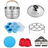 ULEE Accessories Compatible with Instant Pot 3 Qt - Including Steamer Basket, Tempered Glass Lid, Egg Steamer Rack, Egg Bites