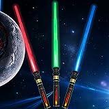 Light Up Saber 3 Colors LED FX Dual Light Swords Set with Sound (Motion Sensitive) and Realistic Handle, Light Sabers for Kid