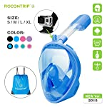 ROCONTRIP Snorkel Mask Full Face, Panoramic 180°View Design, Anti-Fogging Anti-Leak with Adjustable Head Straps with...