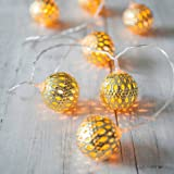 LED Globe String Lights,Goodia Battery Operated 10.49Ft 30 LED Gold Moroccan for Bedroom,Curtain,Patio,Lawn,Landscape,Fairy G