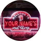 Personalized Your Name Est Year Theme Home Theater Cinema Dual Color LED Neon Sign White & Red 300 x 210mm st6s32-ph2-tm-wr