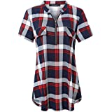 Plaid Shirts for Women V Neck Short Sleeve Blouses Zip up Casual Summer Tunic Tops