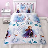 Frozen 2 Official Disney Single Reversible Two Sided Anna, Elsa & Olaf Element Design Bedding Duvet Cover with Matching Pillo