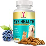 Eye Vitamins for Dogs & Cats – Natural Senior Cat & Dog Supplement w/ Bilberry, Lycopene, Vitamin C & A, Grape Seed Extract &