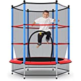 Kid Round Trampoline, 4.5ft Children Outdoor & Indoor Jumping Bed, w/Enclosure Safety Net, 50KG Loading Capacity, Kids Gift,