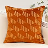 Burnt Orange and Gold Embroidery Velvet Throw Pillow Cover Geometric Line Cushion Case Modern Luxury Pillowcase for Sofa Couc