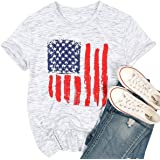 EGELEXY American Flag T Shirt Women 4th of July Independence Day Patriotic Tops Tees Casual Short Sleeve Shirts Tops