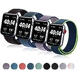 コンパチブル Apple Watch バンド 38mm 40mm 42mm 44mm,ナイロンスポーツループバンドストラップ交換バンドアップルウォッチシリーズ 適応 iWatch Series 5 4 3 2 1 (42mm/44mm, 黒い砂+ディ