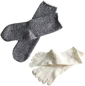 hiorie(ヒオリエ) 日本製 冷えとり靴下 内絹外ウール ソックス 2足セット 5本指+カバーソックス シルク