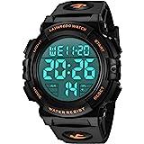 腕時計 メンズ デジタル スポーツ 50メートル防水 おしゃれ 多機能 LED表示 アウトドア 腕時計(ゴールド)