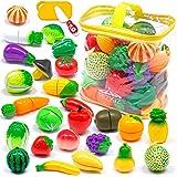 RiZKiZ おままごと 詰め合わせ フルーツ野菜セット 全26種類 まな板&包丁&収納バッグ付 台所 お店屋さんごっこ おもちゃ キッチン ごっこ遊び 食べ物