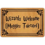 Muikoo Front Door Mat Welcome Mat Wizards Welcome Muggles Tolerated Machine Washable Rubber Non Slip Backing Bathroom Kitchen