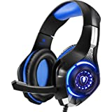 Beexcellent Gaming Headset for PS4 Xbox One PC Mac Controller Gaming Headphone with Crystal Stereo Bass Surround Sound, LED L