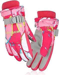 JTENG スキーグローブ キッズ スノーボードグローブ 防撥水 防寒 防風 保温 滑り止め 登山 雪遊び アウトドア 5本指 男女兼用 (S(4~6歳), ピンク)