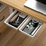 Hidden Under Table Desk Drawer Storage Organizer 2 Pack,Self-Adhesive Under Office Desktop Pencil Tray Drawer,Under Table Sto