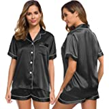 SWOMOG Womens Silk Satin Pajamas Set Two-Piece Pj Sets Sleepwear Loungewear Button-Down Pj Sets