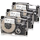 Absonic Compatible Label Tape Replacement for Casio XR-12WE XR-12WE2S Label Cartridge for KL-60 KL-100 KL-120 KL-750 KL-780 K