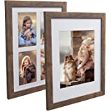 Hap Tim 11x14 Picture Frame Rustic Brown Wood Pattern Photo Frames for Tabletop Display or Wall Decor, Set of 2 (CWH-11x14-BR