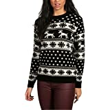 Janisramone Womens Ladies New Unisex Christmas Reindeer Snowflake Novelty Knitted Unisex Xmas Fairisle Jumper Sweater Top