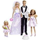 Barbie Wedding Set with Bride and Groom Dolls, Stacie, Chelsea and Accessories (Mattel DRJ88), Assorted Colour/Model