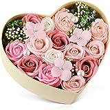 バラ型ソープフラワー ハートフラワー形状ギフトボックス 誕生日 母の日 記念日 先生の日 バレンタインデー 昇進 転居な…