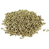 uxcell ナットリベット ゴールドトーン 銅メッキ M0.9x2.5mm スルーホール ブラインドナット 1000個入り