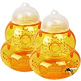 Plastic Wasp Trap for Hornet Bees Yellow Jackets, 2 Pack,Reusable Hanging Outdoor