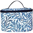 Light Blue William Morris Willow Bough Tapestry Round Large Cosmetic Bag Travel Makeup Organiser Case with Handle Holder by S