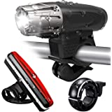 Tobeape Bike Light Set, 300 Lumen Ultra Bright USB Rechargeable Bicycle Lights Front and Back with Bike Bell, 4 Light Modes,